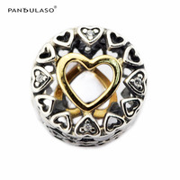 Pandulaso Golden Heart Shape Charms For Women Jewelry Making Clear CZ Crystal Charms Fit Fashion DIY Bracelets Silver Jewelry