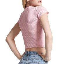 Cute Pink Baby Heart Slim Short Sleeve Knitted Tees