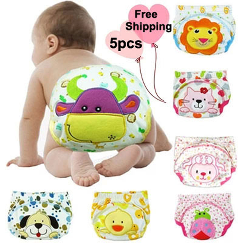 Reusable Baby Diapers Character Cotton Cloth Diaper Cover Super Breathable Washable Kids Trainning Pants Suits Birth To Potty