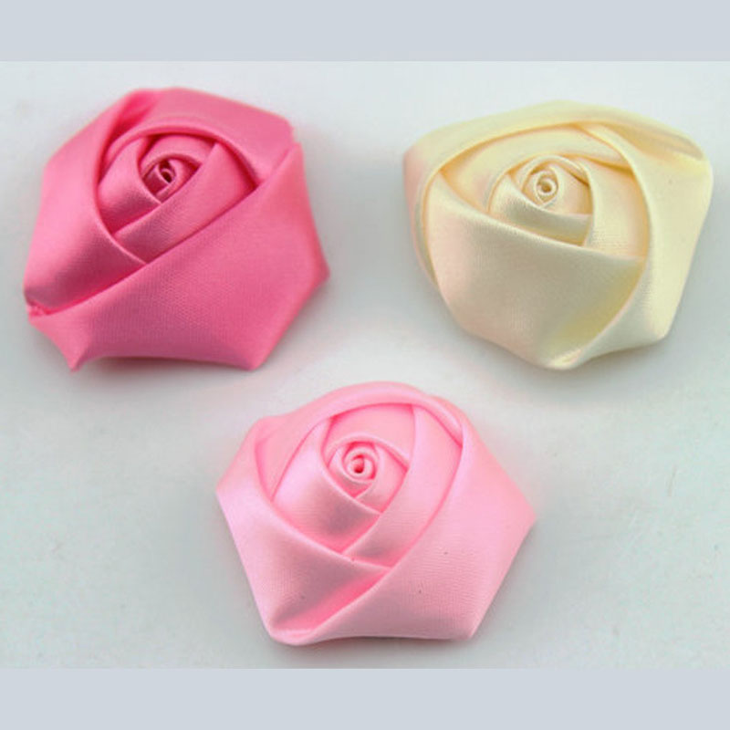 A Pack 100Pcs Handmade Fabric Flowers DIA 3.5Cm Satin Rose ...