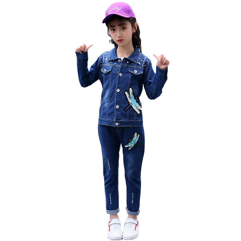 2019 Spring Autumn Girl Denim Jacket & Pants Two Pieces Clothing Set With Beads Teenager School Girls Sequin Jeans Coat Suit Set2019 Spring Autumn Girl Denim Jacket & Pants Two Pieces Clothing Set With Beads Teenager School Girls Sequin Jeans Coat Suit Set