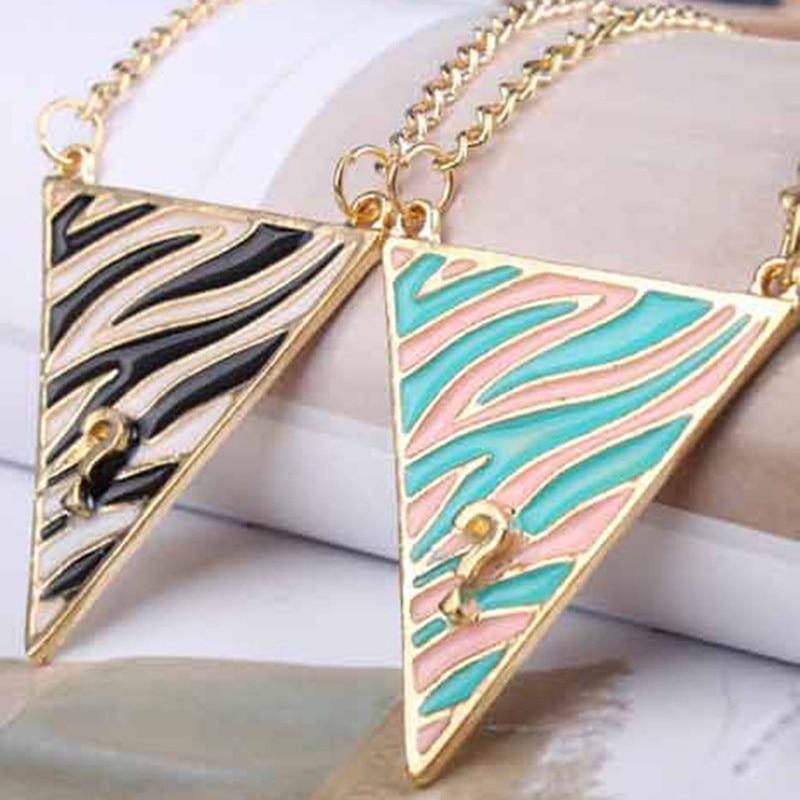 NK363 New Question Mark Triangle Wild Zebra Stripe Drip Long Necklace Pendant Fashion Chain Jewelry