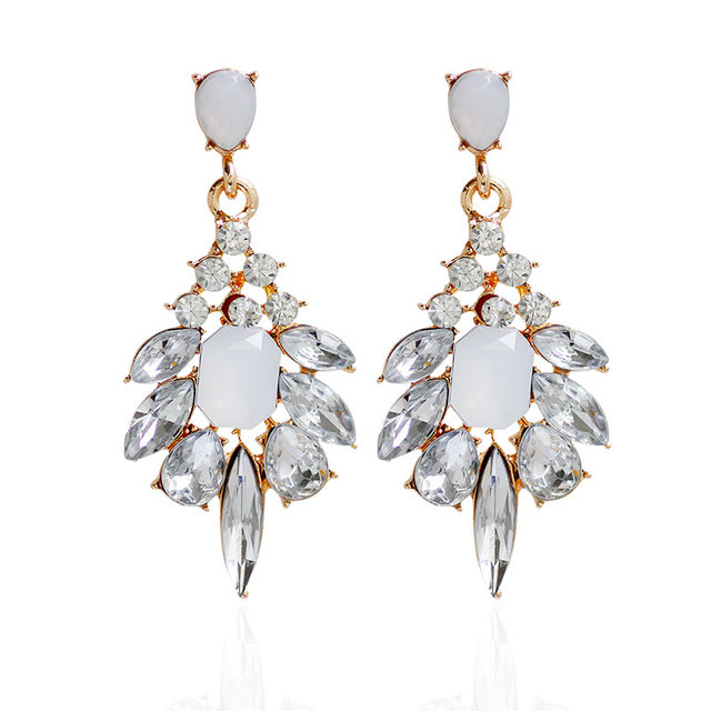 F U Diffe Colors Of Resin Crystal Dangle Earrings With Gold Color Elegant Drop For Women