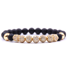 Kang hua Elegant noble Jewelry 8mm natural Stone Micro Pave CZ Metal Ball Charming bracelet for women&men Trend jewelry Bijoux noble 2 minute charming smile trainer