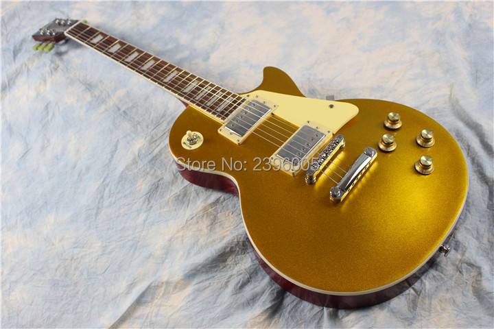 Goldtop lp guitar,classical version,chrome hardware,AAA mahogany guitar. goldtop finish,high quality lp guitar free shipping free delivery high quality custom store electric guitar silver hardware ebony lp guitar wholesale and retail real photos