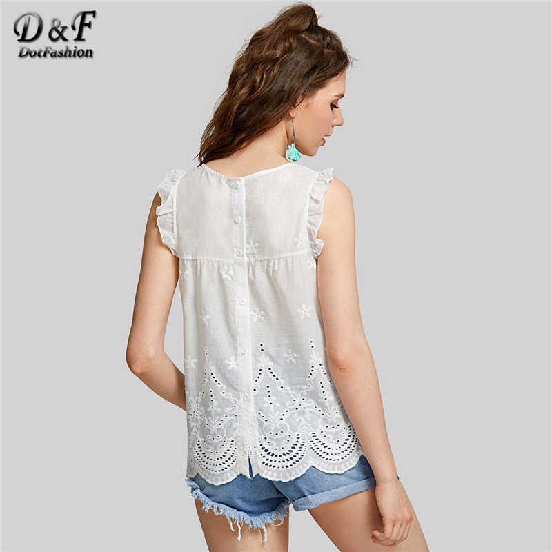f96e4c7ea16458 ... Dotfashion Eyelet Embroidered Scallop Hem Frilled Shell Top Women Round  Neck Sleeveless Blouse 2019 White Cotton