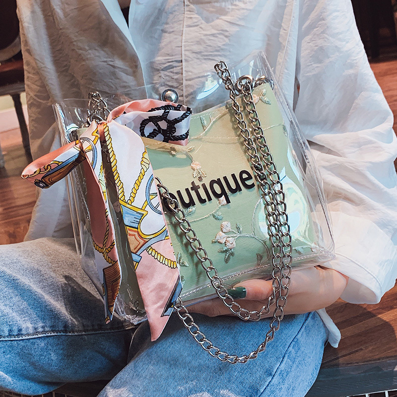 Transparent Chain Jelly Shoulder Bucket Handbag Messenger Hand Bag Crossbody Bags for women Purses And Handbags Bolso Mujer sac in Shoulder Bags from Luggage Bags