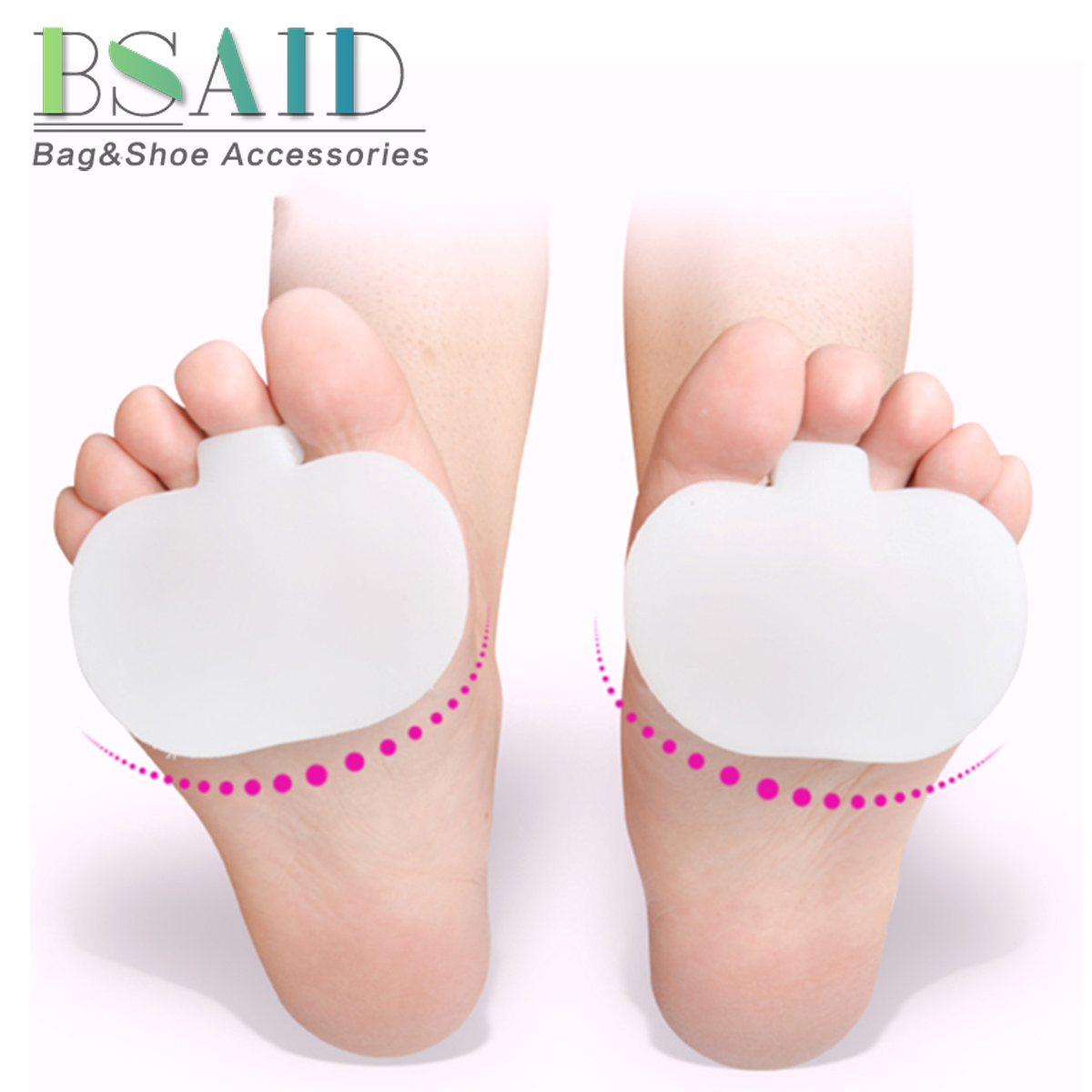 цена на BSAID 1 Pair Silicone Gel Soft Metatarsal Pads Small Neuromas Cushion Separators Forefoot Foot Care Insoles Insert for Men Women