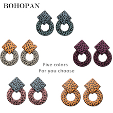 Bohopan New Arrival Fashion Circle Earrings For Women Leopard Printing Charming Drop High Quality Party Dangle