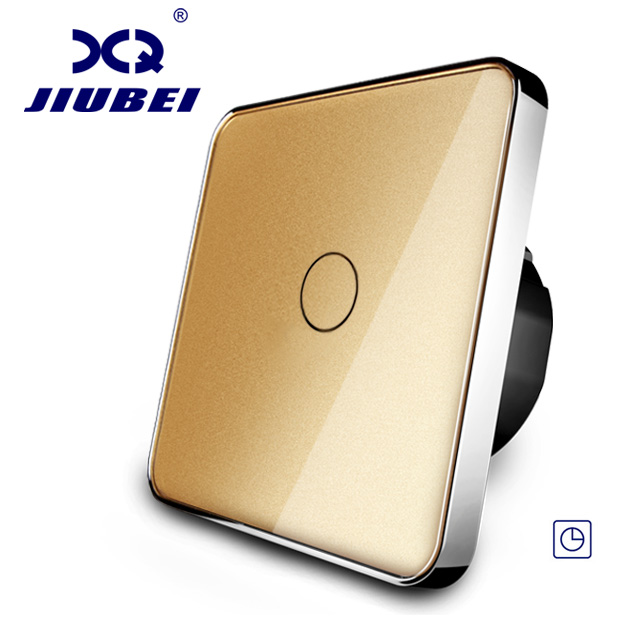 Free Shipping, Jiubei, EU Standard Timer Switch,(30s delay), Golden Crystal Glass Panel, LED Indicator Wall Switch, C701T-13 smart 30s timer delay switch us