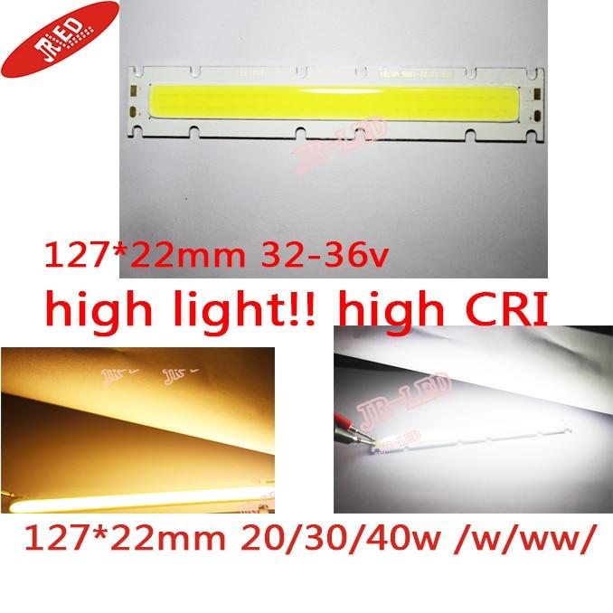 Free Shipping 2pcs 20 /30/40wCOB LED Strip Lights  Lamp highlight /CRI  White /Warm White DC32-36v 1800-3600LM for DIY 122x27MM free shipping cri 90