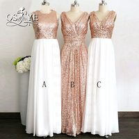 Elegant Long A Line Bridesmaid Dresses Couture Long V Neck Rose Gold Cheap Sequined Bridesmaid Dress