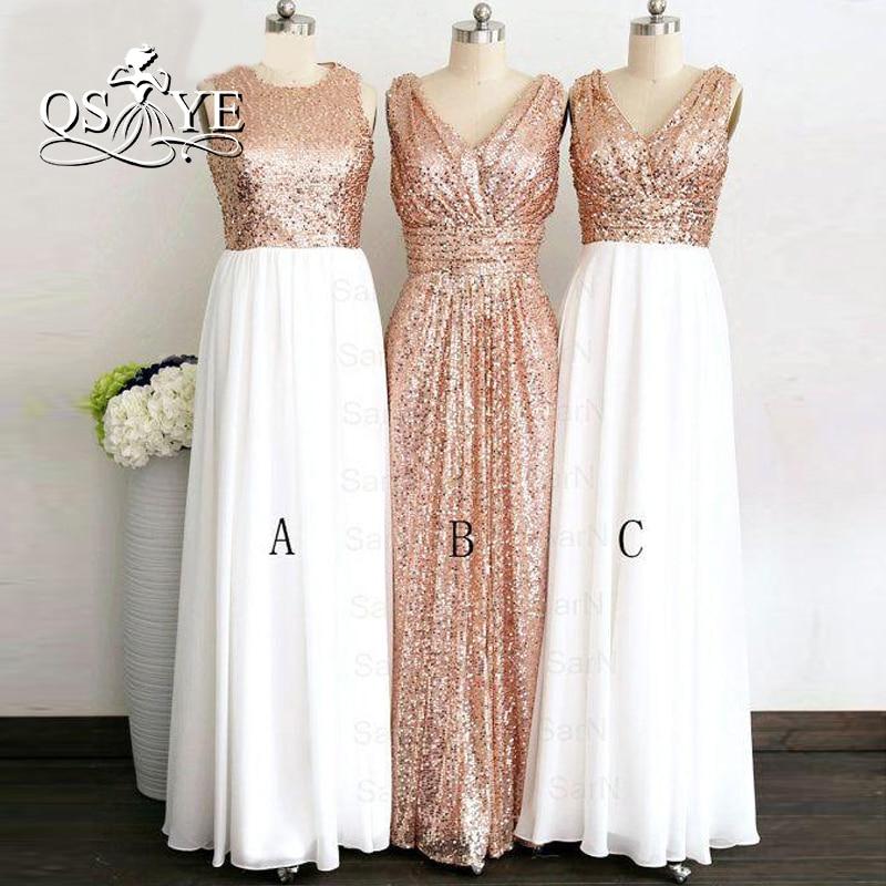 Elegant Long A-line Bridesmaid Dresses Couture Long V neck Rose Gold Cheap Sequined Bridesmaid Dress 2017 vestido madrinha