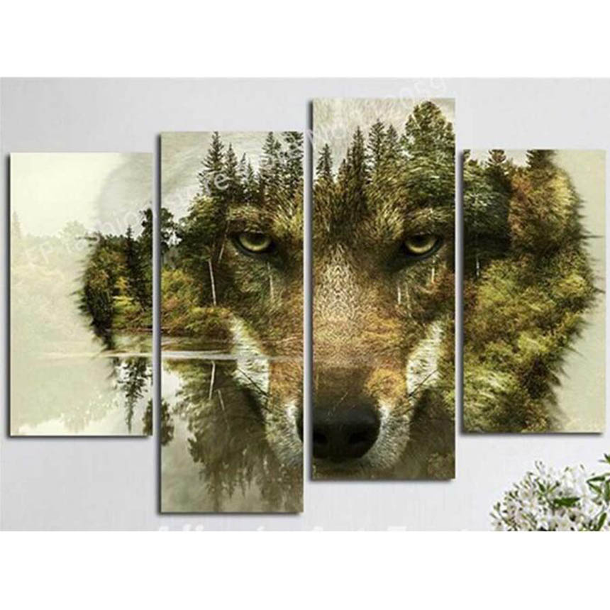 Acrylic on canvas Diamond embroidery triptych mountain wolf 5d Diy diamond painting full square diamond mosaic home decorative