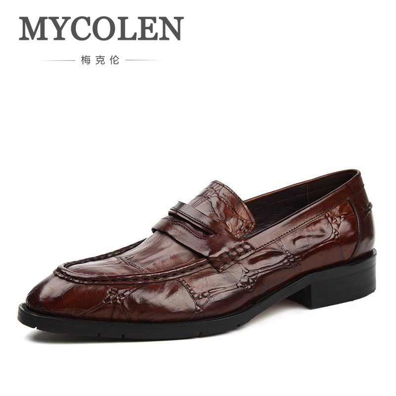 MYCOLEN Formal Shoes Crocodile Leather Men Dress Shoes Slip On Pointed Toe Comfort Business Shoes Male Fashion Footwear цена 2017