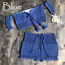 Women Bikini Handmade Crochet Off Shoulder Knitted Strappless
