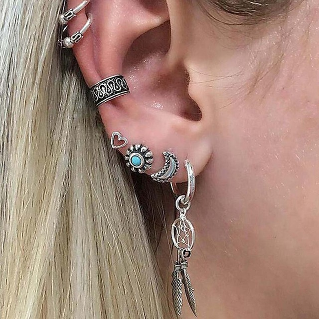 Dream Catcher Ear Cuff Bing Tu Gypsy Boho Ancient Silver Stud Earrings Set 41PCS Woman 19