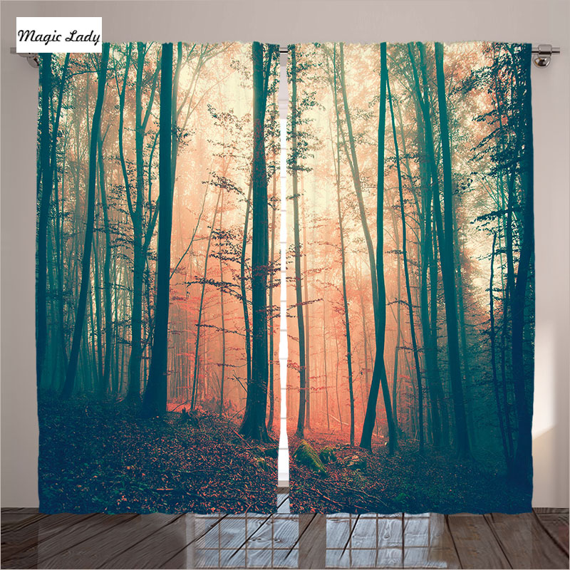 Curtains Orange Green Home Decor Collection Mysterious