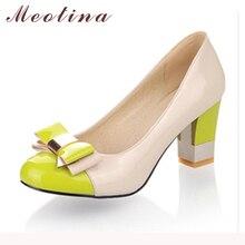 Meotina Zapatos de Las Señoras Bombas Otoño Dedo Del Pie Redondo Básico de Oficina Alto Gruesos Zapatos de tacones de Las Mujeres Arco Zapatos Del Color Del Caramelo Más El Tamaño 9 10
