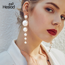 Hesiod New Fashion Charm Big Simulated Pearl Long Earrings for Women Statement Drop Earrings for Wedding Party Office Lady Gift cheap Trendy Simulated-pearl Zinc Alloy Round H4427 Imitation Pearl White Sweet Elegant All Match