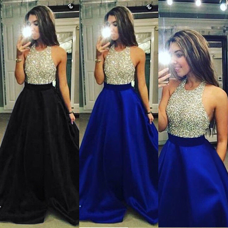 HIRIGIN Newest Hot UK Long Formal Prom Party Dress Bridesmaid Formal Bling Sleeveless Dresses Ball Gown