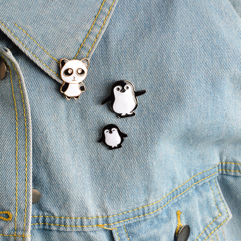Cartoon Animal Pin Panda Daddy Penguin Mama Baby Brooch Buckle Pins Bag Jacket Shirt Pin Badge Gift For Kids Jewelry Jewelry & Accessories