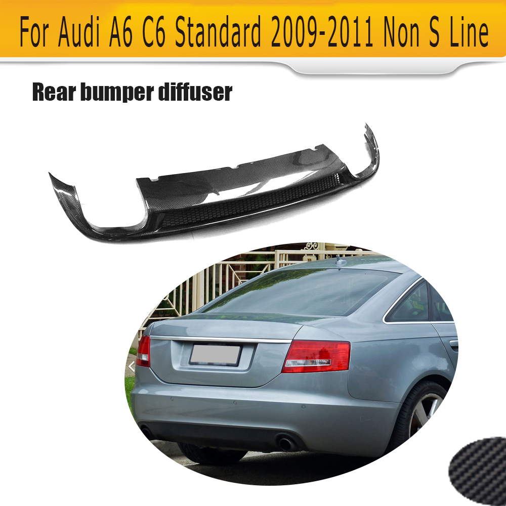 Carbon Fiber rear bumper lip spoiler diffuser for Audi A6 C6 Standard Sedan 4 Door 2009 2010 2011 Black PU