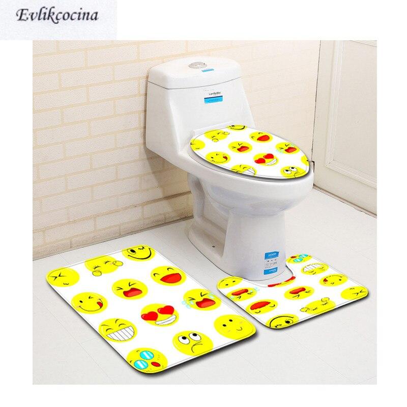 Livraison gratuite 3 pièces petit jaune visage Banyo Salle De Bain Tapis toilette U Type Tapis De Bain ensemble antidérapant Tapis Salle De Bain Alfombra Bano