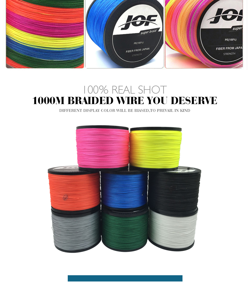 1000m 8 strands Multicolour PE Braided Wire Multifilament Fishing Line Fishing Tackle 15LBS-80LBS 9