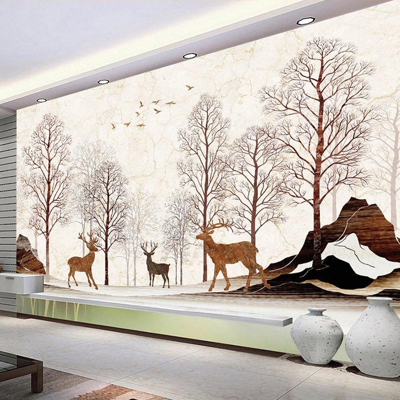 Custom Photo Wallpaper Waterproof Marble Pattern Elk Forest Mural Modern Living Room Sofa TV Background Wall Papers Home Decor