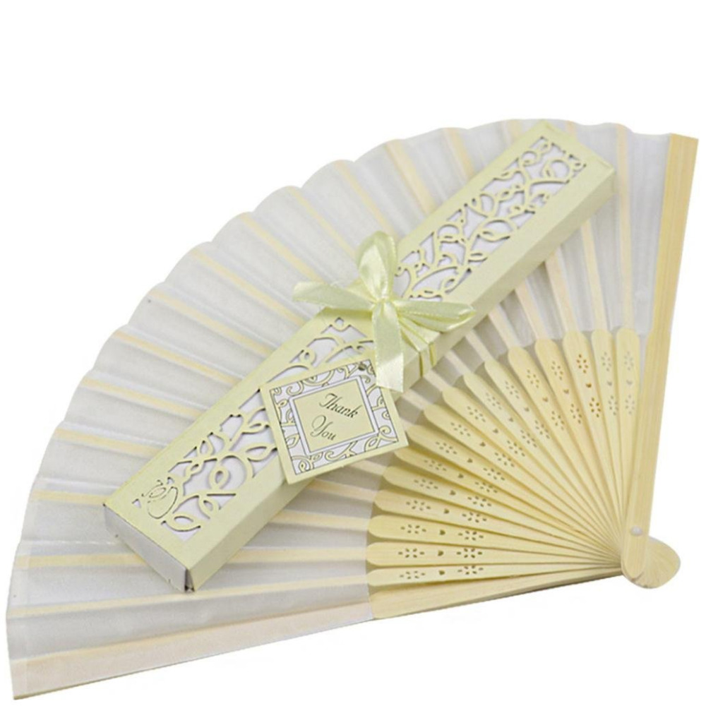 100Pcs Folding Hand Silk Wedding Fan Box Personalized Wedding Favor ...