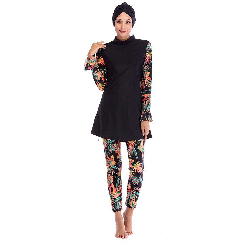 Femmes musulman maillot de bain conservateur modeste Patchwork Hijab manches longues Sport maillot de bain islamique muslimah Burkinis maillot de bain