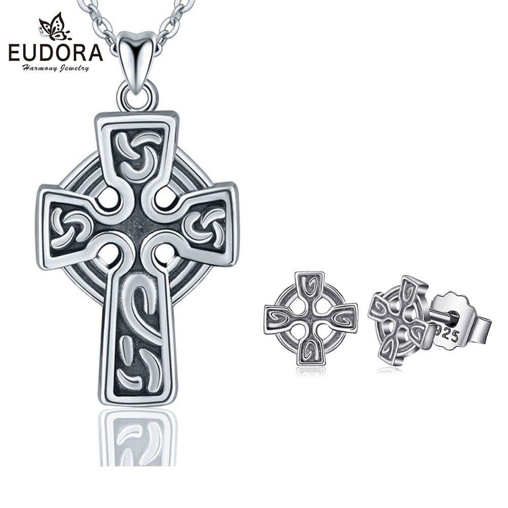 EUDORA New 925 Sterling Silver Celtics Knot Cross Jewelry Set Pendant Necklace Cross Stud Earring Women Fine Jewelry E34D231