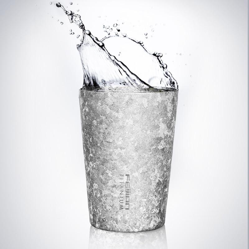 Feijian 400ml Pure Titanium Mug Coffee Beer Cola Tea Juice Cup Bacteriostatic effect double wall vacuum