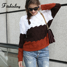 Fitshinling 2019 New Arrival Sweaters For Women Pullover Long Sleeve Slim Pull Femme Korean Patchwork Winter Female Sweater Sale