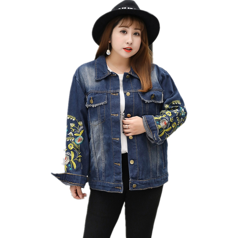 2019 New Short Denim Jackets For Women Embroidery Sleeves Plus Size 5xl Fashion Ladies Denim Tops High Quality Female Outerwear