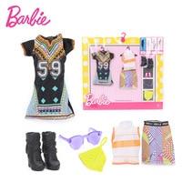 Barbie Poupée De Mode Vêtements Parti Robe Collier Tenues Poupée Chaussures Mis Barbie Accessoires de Fille D'anniversaire De Noël Cadeaux