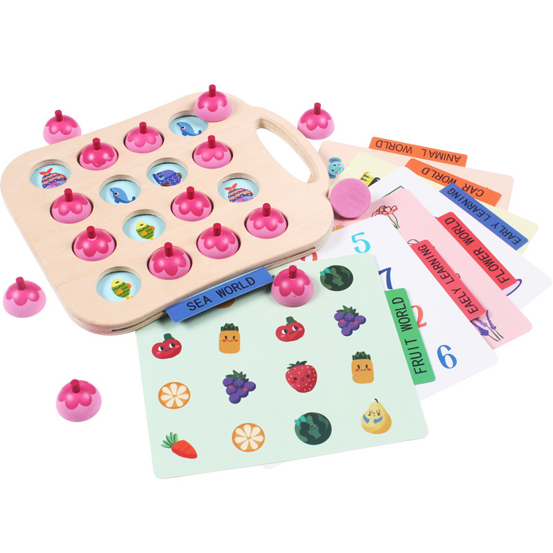 Baby Educational Toys for Children Puzzles Flower Memory Chess Wooden Toys Kids Family Game Educational Learning Toys New in Puzzles from Toys Hobbies