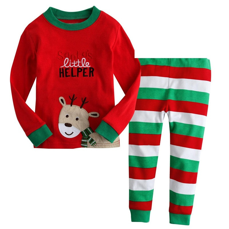 Toddler Infan Newborn Baby Boy Girl Santa Little Helper Deer Pattern Christmas Pajama Set Xmas Outfits Clothes
