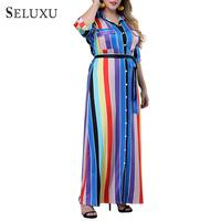 402483e7a220c Seluxu 2019 Summer Fashion Plus Size Dress For Women Floral Print Square  Collar Elegant Long Sleeve
