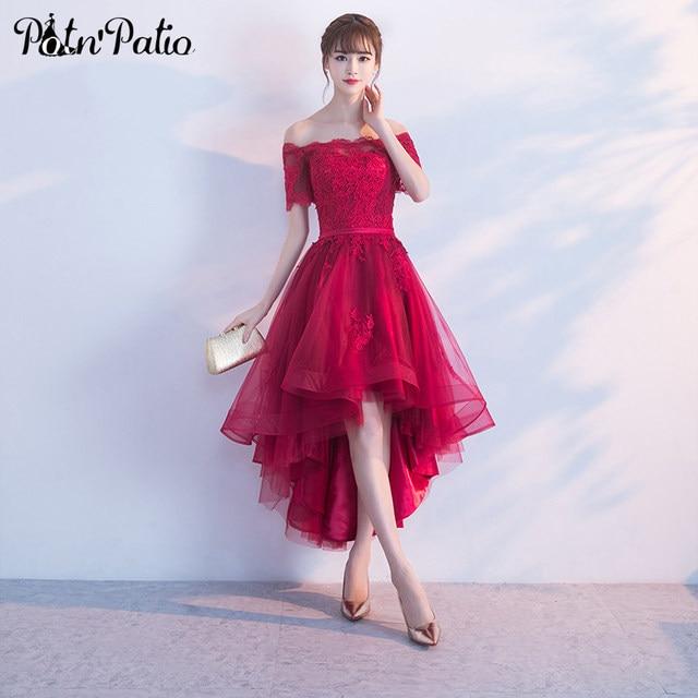 Online Shop Elegant Tulle Wine Red Prom Dresses 2018 Boat Neck Shor