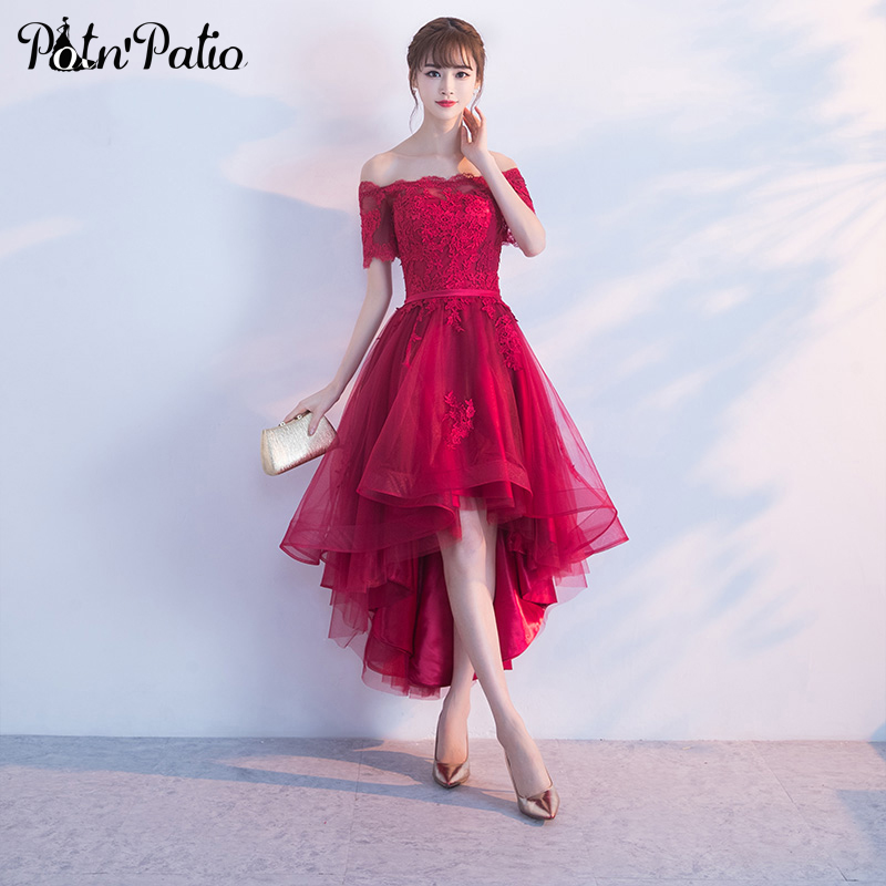 PotN'Patio Short Cap Sleeves Off Shoulder Prom Dresses 2017 Lace Appliques Tulle Wine Red Prom Dresses High Low
