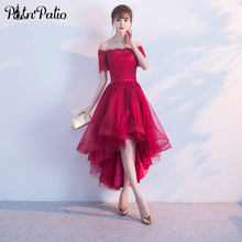 PotN'Patio Lyhythihainen Hihat Off Shoulder Prom Mekot 2017 Lace Appliques Tulle Viini Punainen Prom Mekot High Low