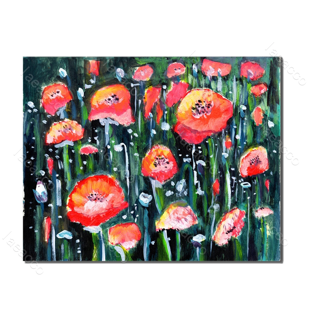 Laeacco Red Flower Tulip Prints and Posters Nordic Style Painting in Canvas Wall Artwork Living Room Bedroom Home Decor