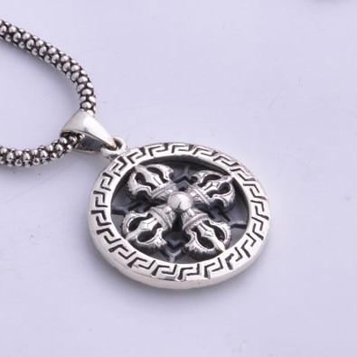 Handmade 925 Silver Tibetan Dorje Pendant vintage thai silver double dorje amulet pendant buddhist symbol jewelry