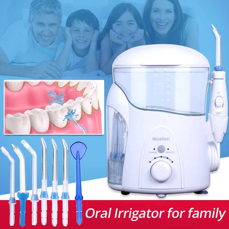 Tooth Cleaner Nicefeel Oral Irrigator Portable Stains Plaque Removal SPA with UV disinfector Dental Water Jet Flosser FC288uv oral irrigator dental whitening water teeth flosser electric tooth cleaner machine tooth device with uv sanitizer