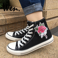 Wen Design Black Canvas Shoes Rose Flower Design Tattoo Men Women's High Top Sneakers Lace up Plimsolls Christmas Birthday Gifts