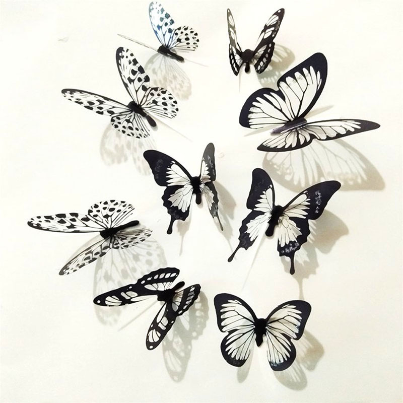 18Pcs Black And White 3D Butterfly Wall Stickers Art Wall