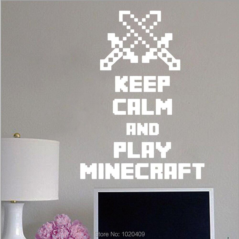 Wall Sticker Minecraft Game Words Pvc Wallpaper Diy Poster Wall