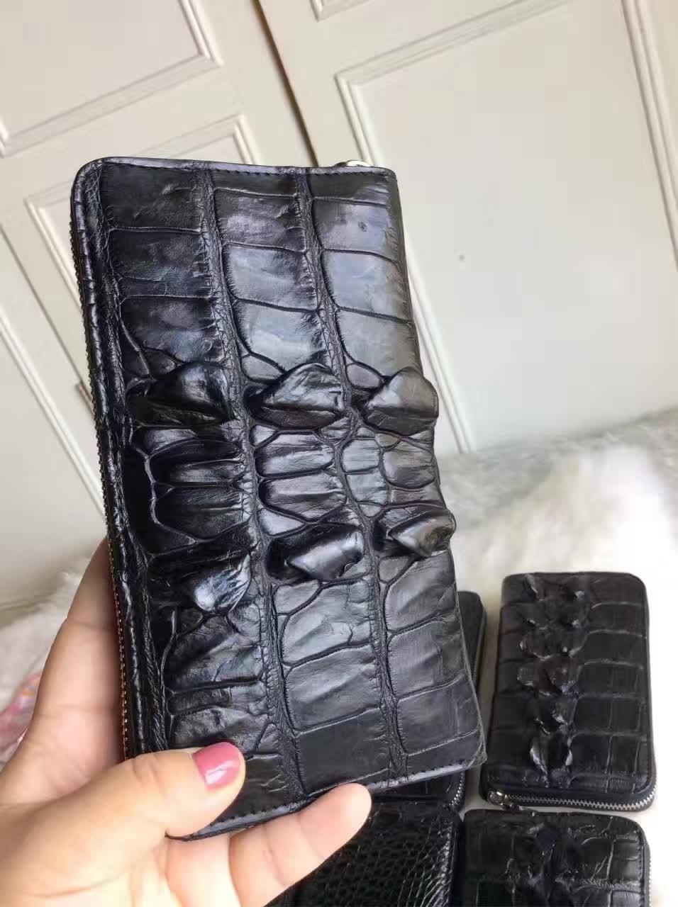 Brieftaschen Haut Schwarz Reißverschluss Männer Halter 100 Mit Kreditkarten Leder Bank Für Krokodilleder Alligator Und Farbe Echte T4YqX